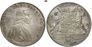 Hieronymus of Colloredo, 1772-1803. 1790 konventionsthaler, so-called löwenthaler. Extremely rare. Nearly FDC