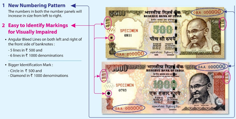 New revised 500- and 1,000-rupee banknote features, courtesy Reserve Bank of India.