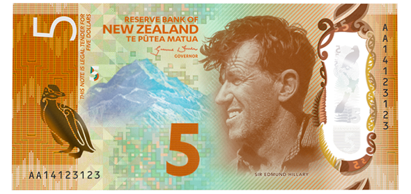 "New Zealand 2016 ""Brighter Money"" Series 7 $5 Banknote"