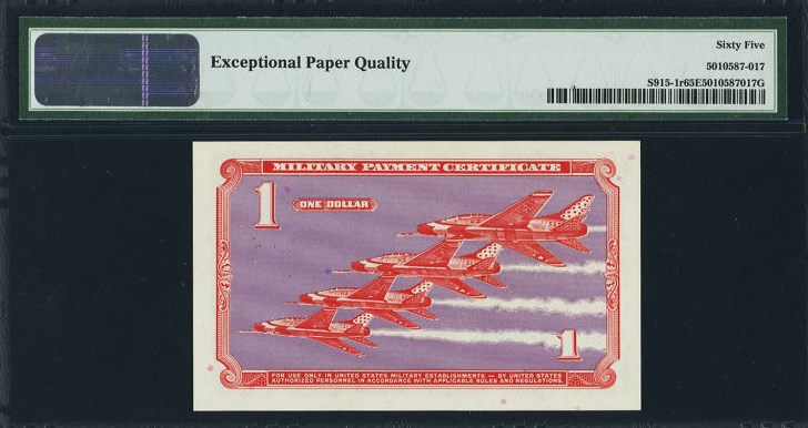 $1 Military Payment Certificate, Series 681, S915 back