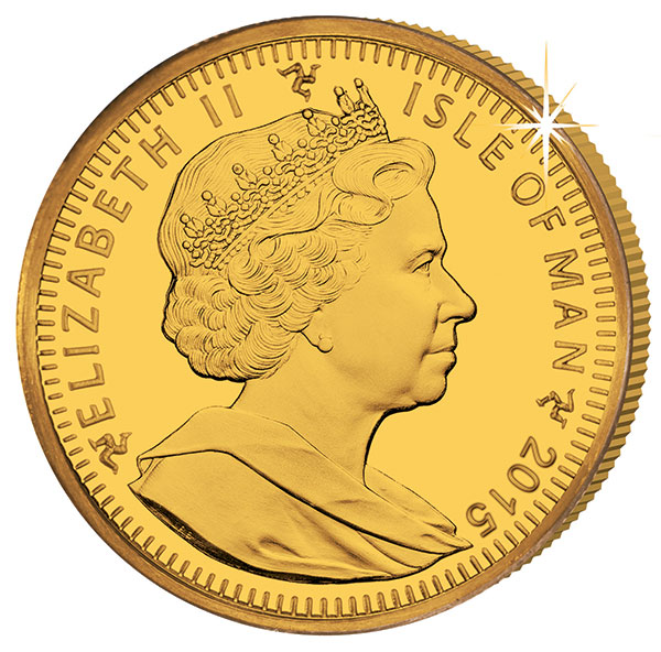 2015 Isle of Man gold coin. Ian Rank-Broadley, Queen Elizabeth II portrait