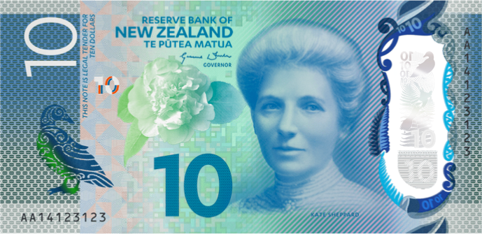New Zealand 2015 Series 7 $10 bank note feat. Kate Sheppard
