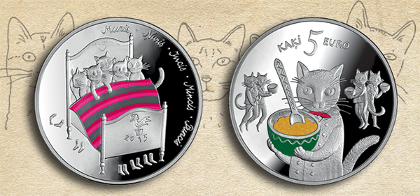 Latvia 2015 Five Cats Fairy Tale Coin