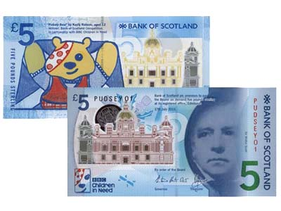 Bank of Scotland BBC Children in Need commemorative polymer £5 banknote, Courtesy Spink