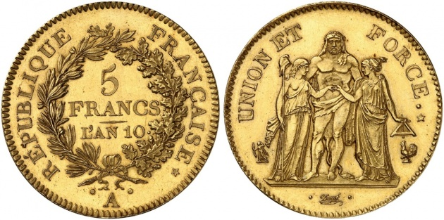 France: 5 franc pattern year 10 after the storming of the Bastille, Künker
