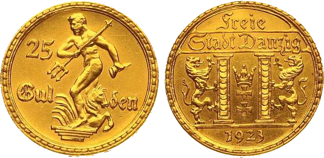 Germany, Danzig, 1923 gold 25 gulden, Ritter MA-Shops