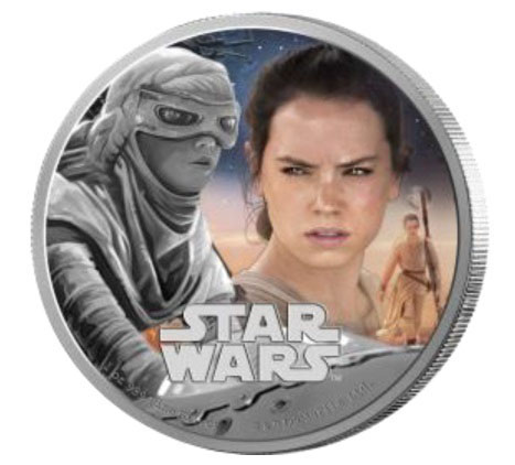 Star Wars Rey silver coin, CIBC New Zealand Mint