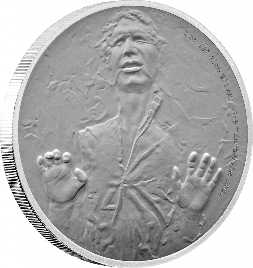 Star Wars Han Solo in carbonite silver coin, CIBC New Zealand Mint