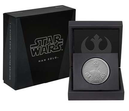 Star Wars Han Solo silver coin packaging, CIBC New Zealand