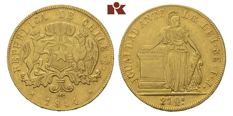 Republic of Chile. 8 Escudos 1844 So, Santiago.