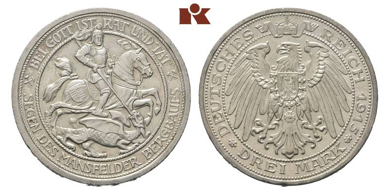 Prussia. William II, 1888-1918. 3 Mark 1915 A.