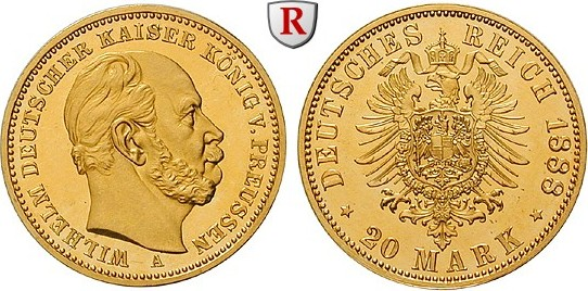 Germany, Preussen, 1888 Wilhelm I gold 20 mark, Ritter MA-Shops