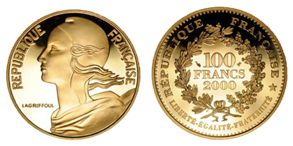 France 2000 5th Republic (1959- ) Marianne 100-franc gold coin. Courtesy Poinsignon Numismatique and MA-Shops