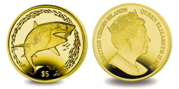British Virgin Islands 2016 Lemon Shark $5 Yellow Titanium coin, Pobjoy Mint
