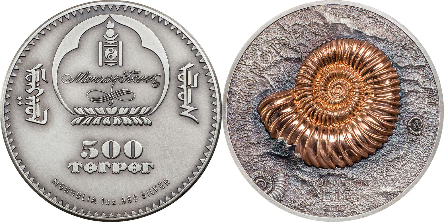Mongolia, Evolution of Life 2015 - Ammonite. Coin Invest Trust, Mayer Mint