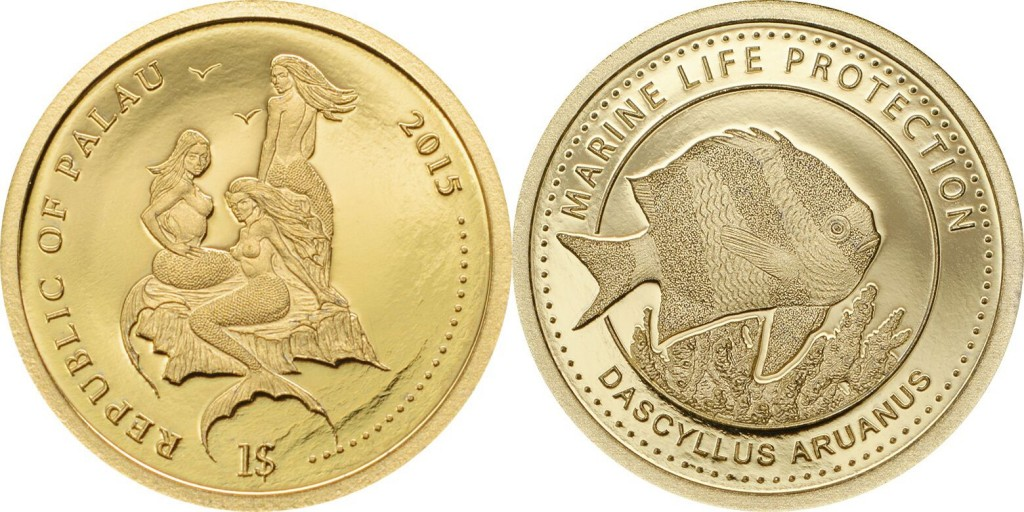 Palau 2015 Marine Life Protection: White Tail Damselfish $1 gold Proof coin. Coin Invest Trust, Mayer Mint