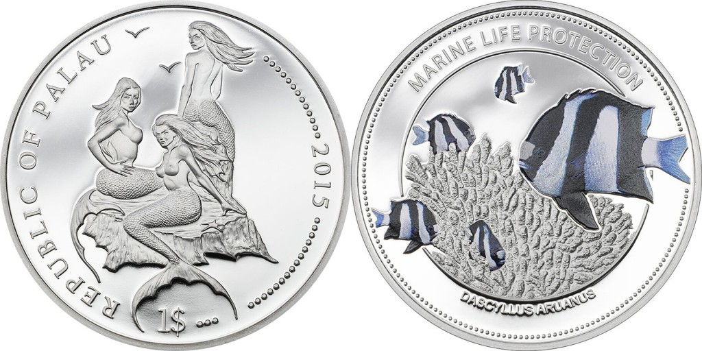 Palau 2015 Marine Life Protection: White Tail Damselfish $1 silver Proof coin. Coin Invest Trust, Mayer Mint