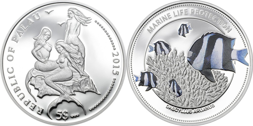 Palau 2015 Marine Life Protection: White Tail Damselfish $5 silver Proof coin. Coin Invest Trust, Mayer Mint