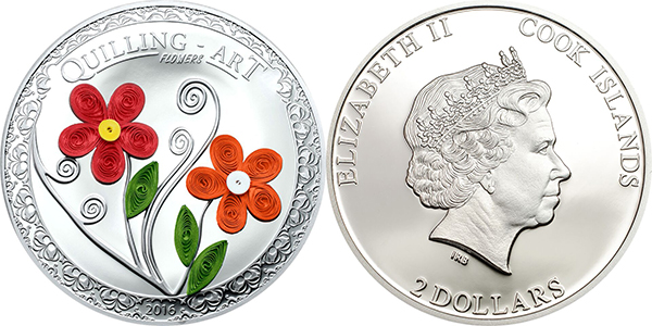 Coin Invest Trust, Quilling Art 2016 - Flowers. Mayer Mint for Cook Islands