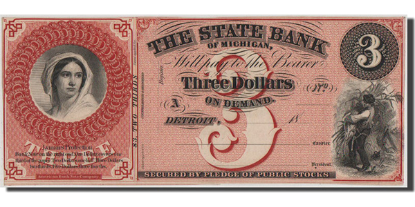 United States Obsolete Bankote, State Bank of Michigan $3 bill. Courtesy Comptoir des Monnaies and MA-Shops
