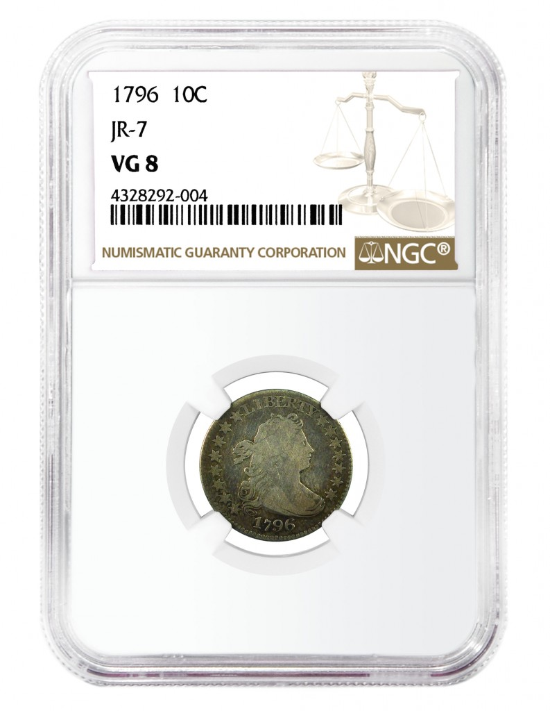 Finest-known of two known specimens of a rare 1796 dime die marriage (JR-7), courtesy NGC.