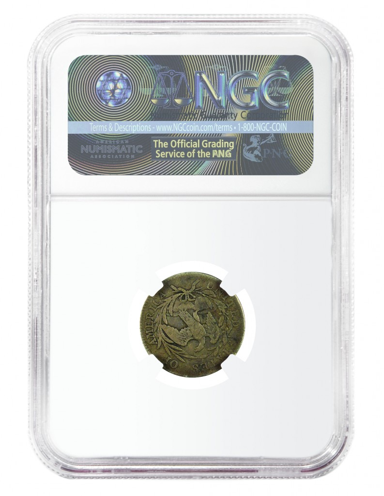 Reverse, finest-known of two known specimens of a rare 1796 dime die marriage (JR-7), courtesy NGC.