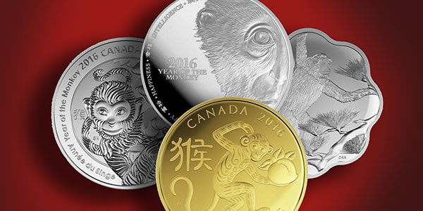 Chinese New Year 2016 - Year of the Monkey Canadian and New Zealand Gold and Silver Coins