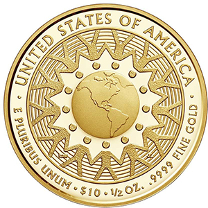 """Reverse, 2016 Patricia """"Pat"""" Nixon First Spouse 1/2 oz Gold Coin, Proof and Uncirculated. Courtesy U.S. Mint"""