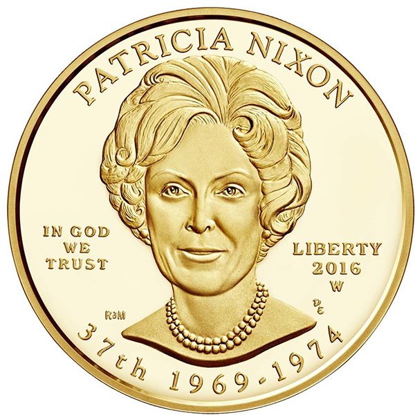 """2016 Patricia """"Pat"""" Nixon First Spouse 1/2 oz Gold Coin, Proof and Uncirculated. Courtesy U.S. Mint"""