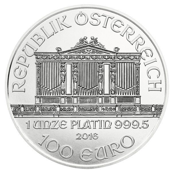 Austria 2016 Vienna Philharmonic 100 Euro Platinum Bullion coin, courtesy Austrian Mint