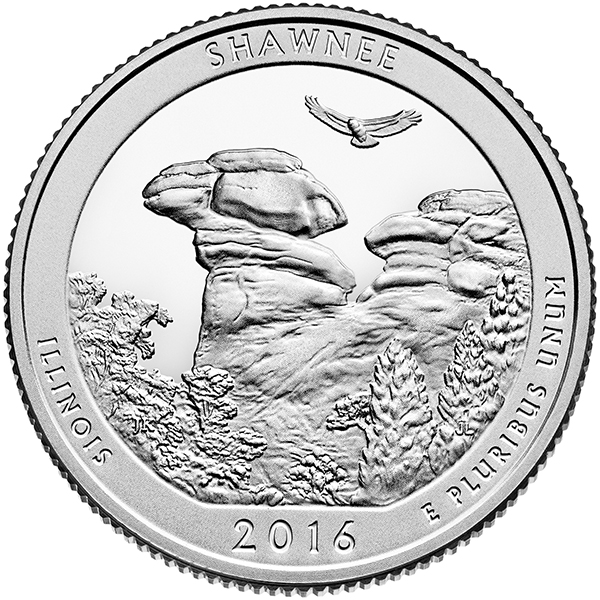United States 2016 America the Beautiful Shawnee National Forest Quarter, courtesy United States Mint