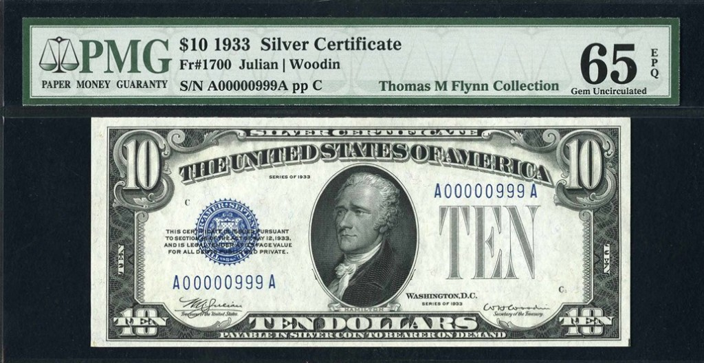United States 1933 $10 Silver Certificate, Julian/Woodin signatures