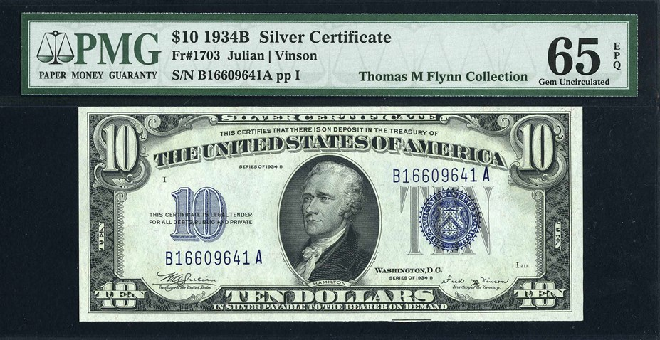 United States 1934B $10 Silver Certificate, Julian/Woodin signatures