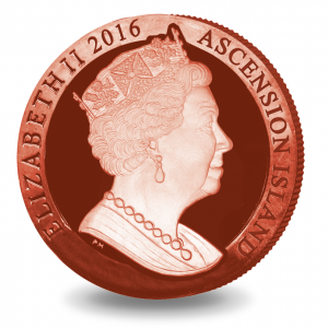 obverse, Ascension Island 2016 Penny Red Stamp 175th Anniversary Coin - Pobjoy Mint