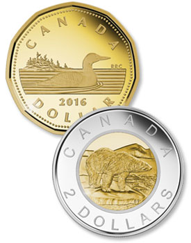 Canadian Coins - The Loonie ($1) and the Toonie ($2)