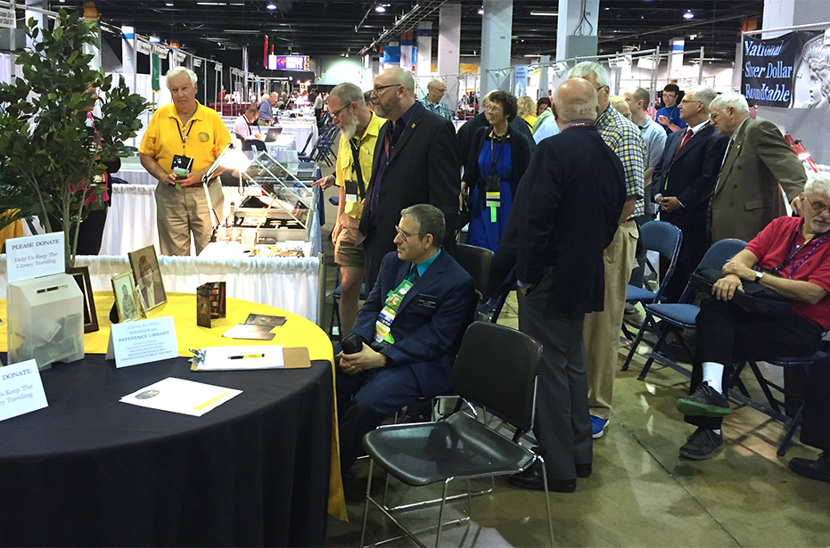 Dedication of the John Burns Memorial Traveling Library at the 2015 ANA World's Fair of Money