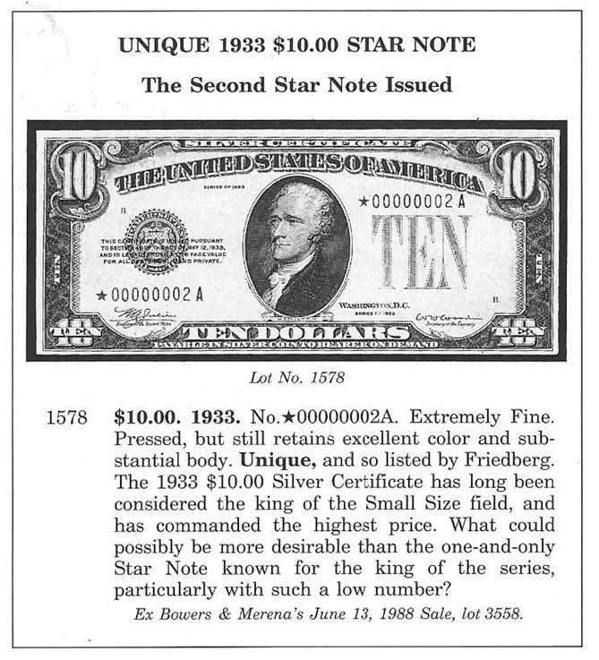 United States, unique 1933 $10 silver certificate star note
