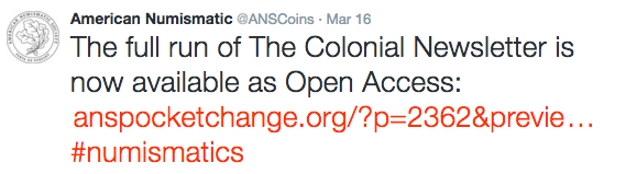 ANS twitter, Colonial Newsletter