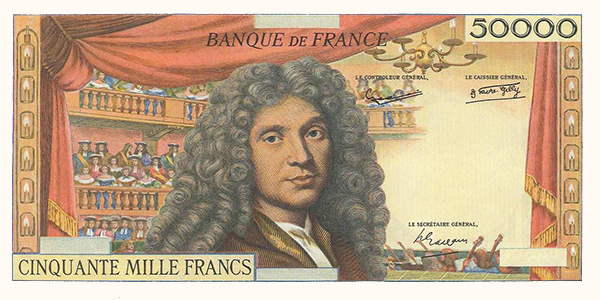 Obverse, France 1959 Moliere 50,000 Franc banknote