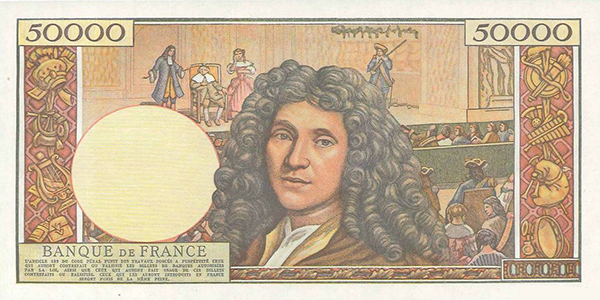 Reverse, France 1959 Moliere 50,000 Franc banknote