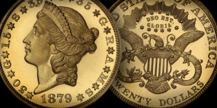 "Extremely Rare Gold 1879 ""Quintuple Stella"" Pattern $20 in Legend Regency XVII Auction"
