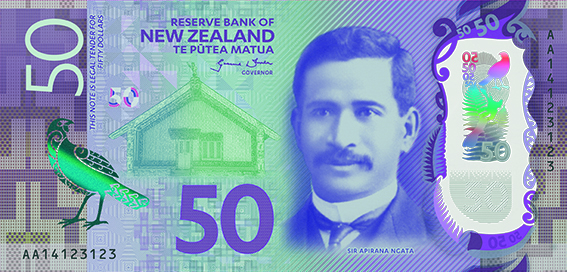 front, New Zealand 2016 Series 7 $50 banknote