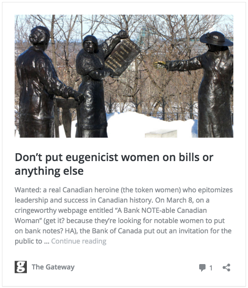 woman on Canadian banknote - no eugenicists, please