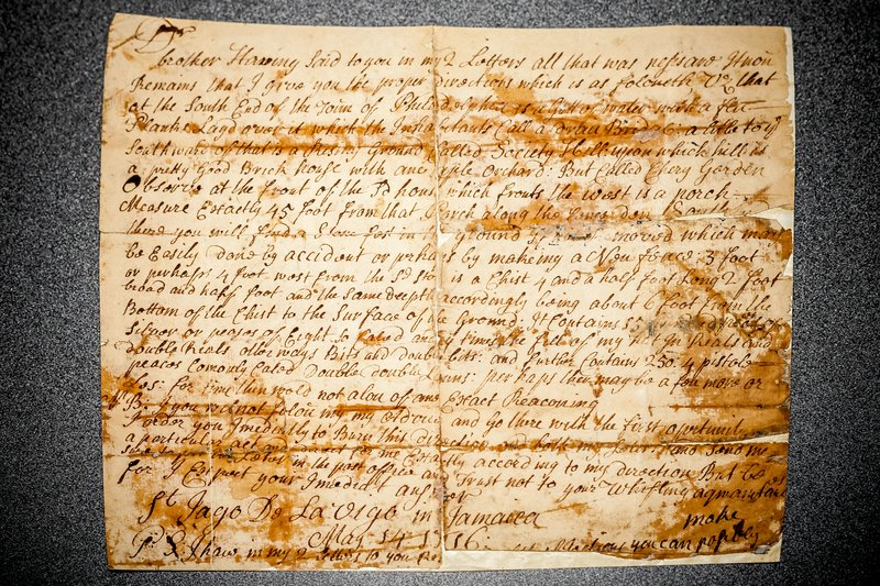 1716 letter discussing the Society Hill Treasure
