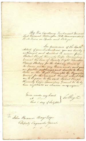 Letter written and signed by the Duke of Wellington