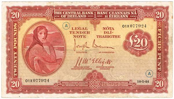 Ireland £20 note with Lady Lavery