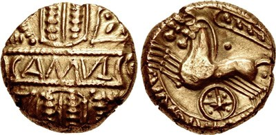 Iron Age gold stater issued by Cunobelin of the Catuvellauni and the Trinovantes in southeastern Britain; Courtesy CNG