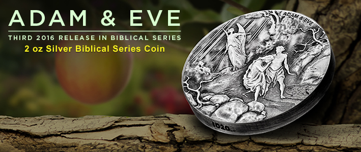 Adam & Eve: Exile from Eden; 3rd coin in 2016 Biblical series
