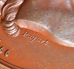 1861 US Mint Loyalty Medal, close up of Paquet signature