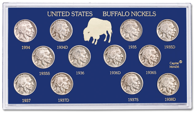 Short set of 1934-1938 Buffalo nickels
